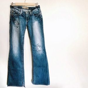 Big Star Ultra-Low Rise Distressed Bootcut Jeans